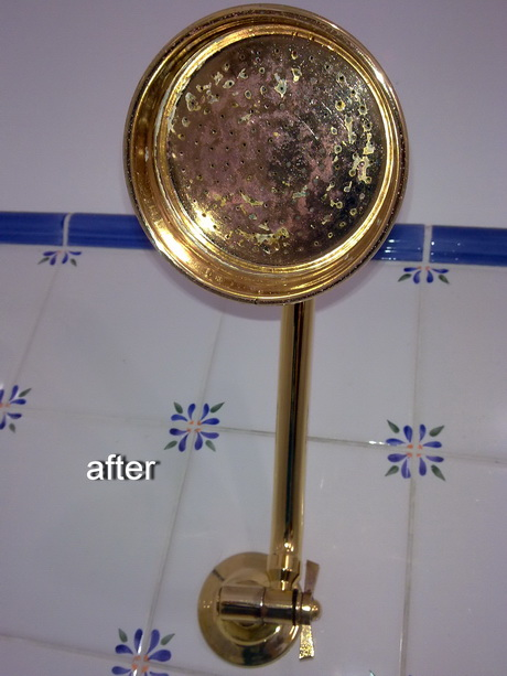 how to clean calcium off shower head